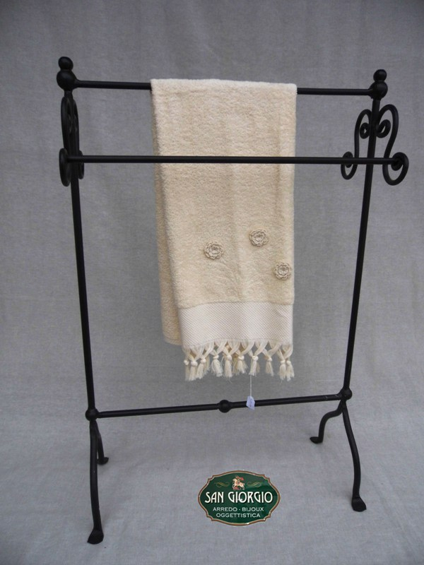 Porta asciugamano tre posti grande nero san giorgio for Arredo bagno porta asciugamani