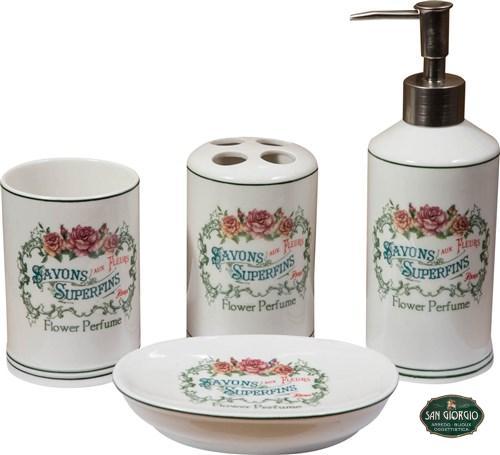 Set 4 pezzi da bagno savons superfins flower perfume for Thun accessori bagno